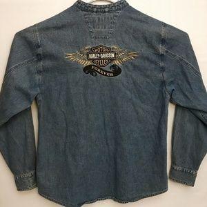 Harley Davidson Jean Jacket Mandarin Collar Size L